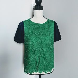 NWOT J Crew green lace front short sleeved too